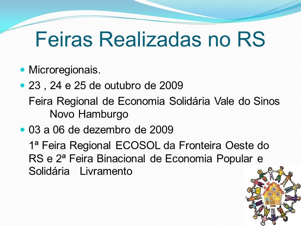 P Feiras Realizadas no RS Microregionais. 23, 24 e 25 de outubro de 2009 Feira Regional de Economia Solidária Vale do Sinos Novo Hamburgo 03 a 06 de d