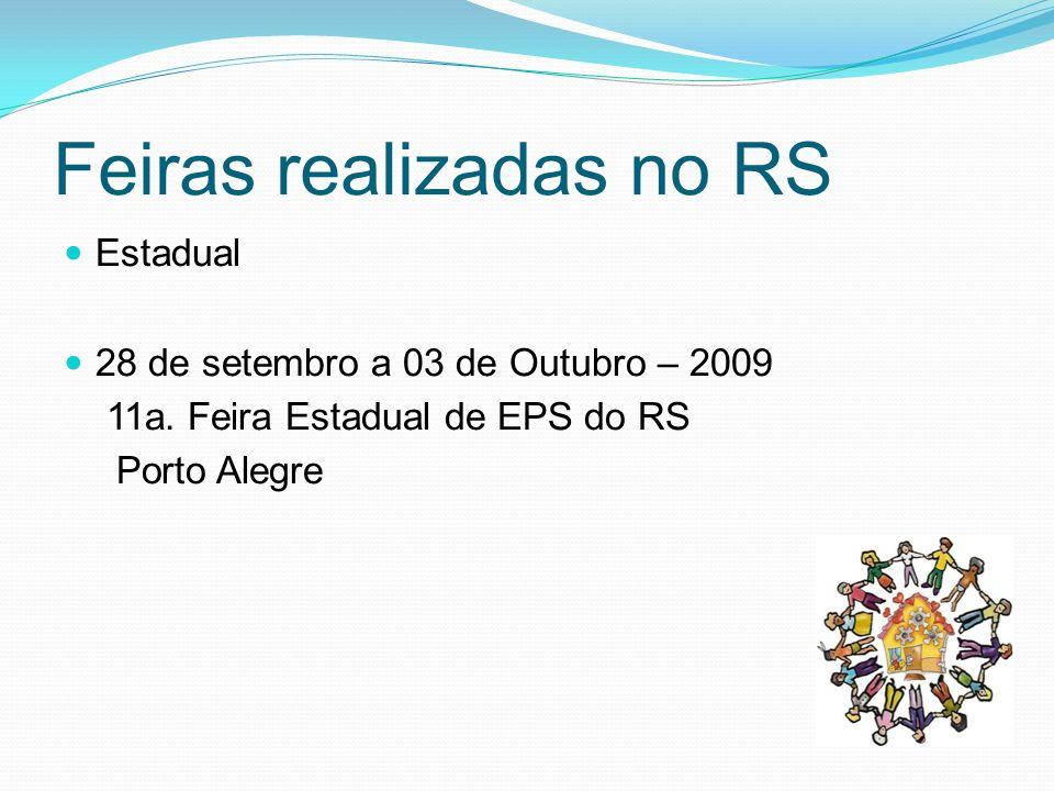 Feiras Realizadas no RS Internacionais 22 a 24 de janeiro de 2010 I Feira Mundial de Economia Solidária Santa Maria 25 a 29 de Janeiro de 2020 I Feira Mundial de Economia Solidária Canoas
