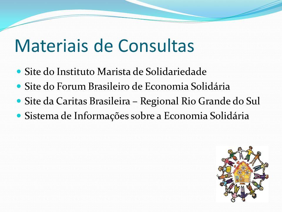 Materiais de Consultas Site do Instituto Marista de Solidariedade Site do Forum Brasileiro de Economia Solidária Site da Caritas Brasileira – Regional