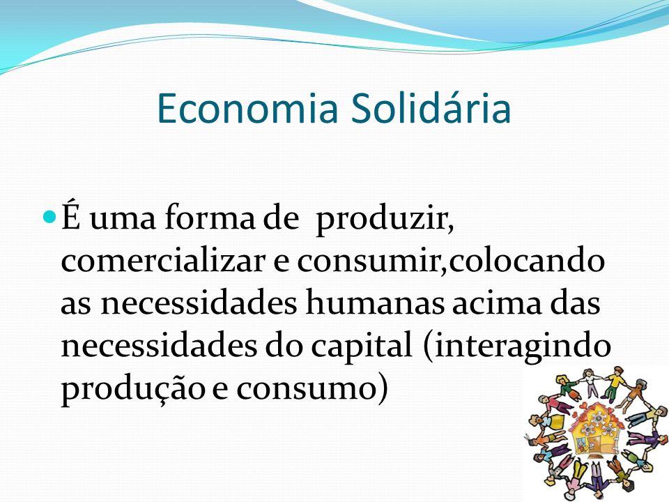 ASPECTOS A SEREM CONSIDERADOS PARA A CONSOLIDAÇÃO DA ECONOMIA SOLIDÁRIA NÃO EXISTE PATRÃO, NEM EMPREGADO (grupos autogestionários); O CONSUMO É RESPONSÁVEL E CONSCIENTE (desenvolvimento local e sustentável, produtos saudáveis, benefício do consumo) MUDANÇA SOCIAL – lógica diferenciada de desenvolvimento (sem concentração de renda, de terra); políticas de distribuição ão