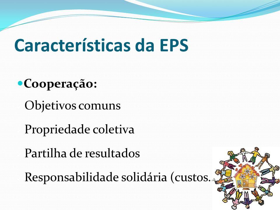 Características da EPS Cooperação: Objetivos comuns Propriedade coletiva Partilha de resultados Responsabilidade solidária (custos...)