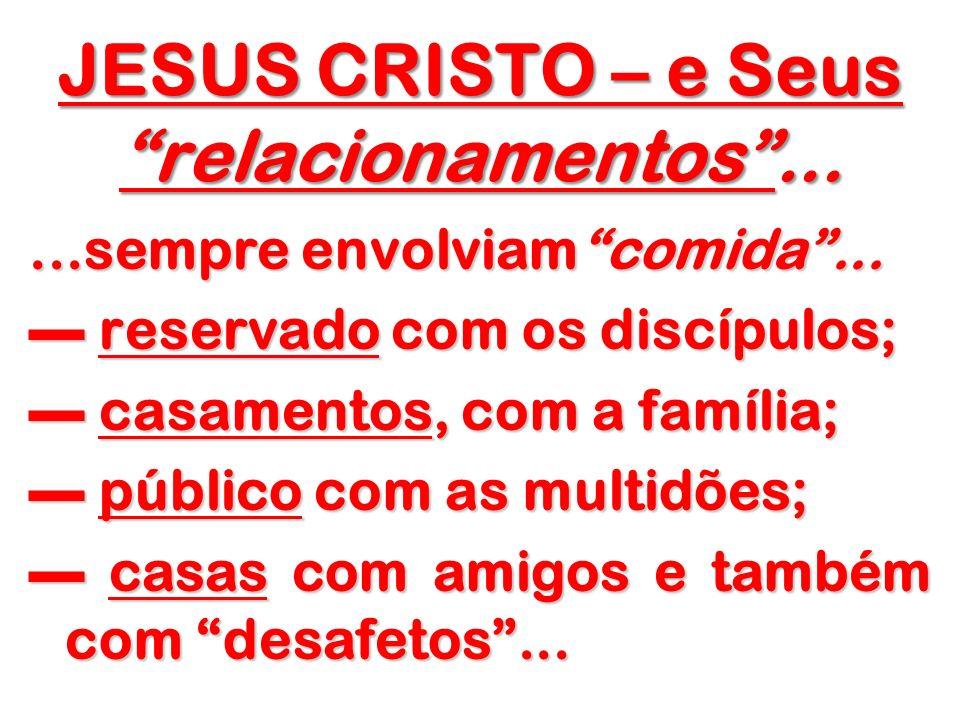 JESUS CRISTO – e Seus relacionamentos......sempre envolviamcomida... reservado com os discípulos; reservado com os discípulos; casamentos, com a famíl