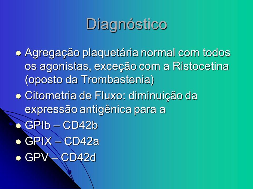 Diagnóstico Agregação plaquetária normal com todos os agonistas, exceção com a Ristocetina (oposto da Trombastenia) Agregação plaquetária normal com t