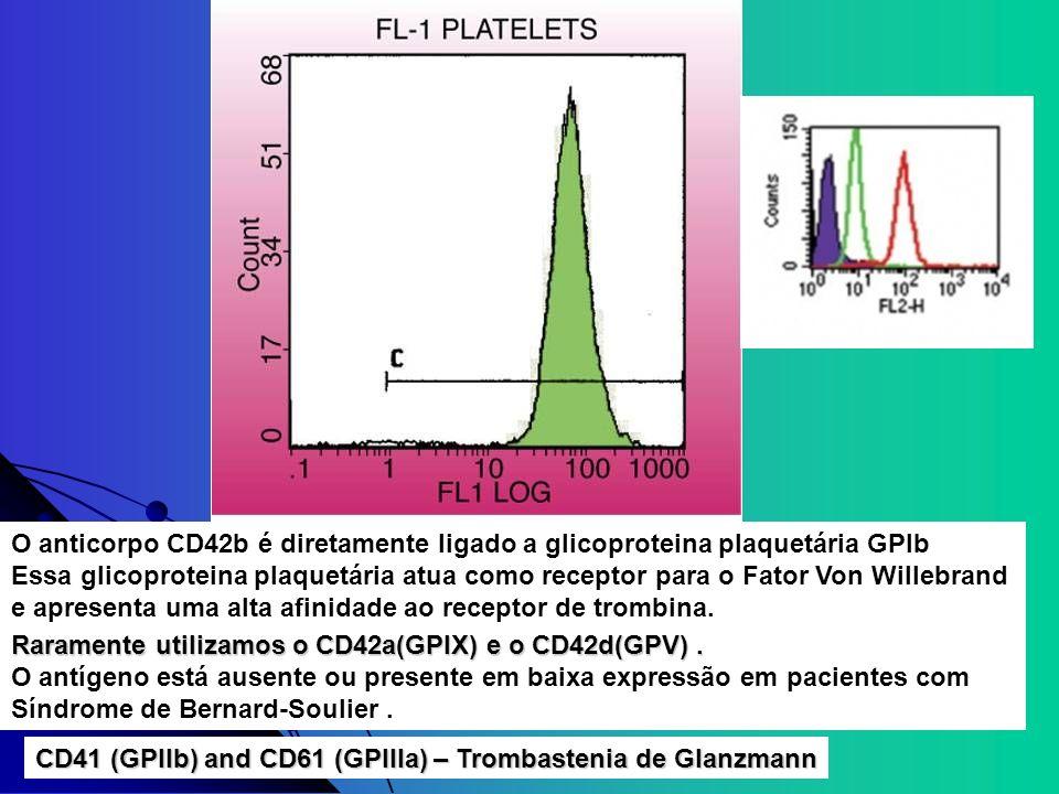 O anticorpo CD42b é diretamente ligado a glicoproteina plaquetária GPIb Essa glicoproteina plaquetária atua como receptor para o Fator Von Willebrand