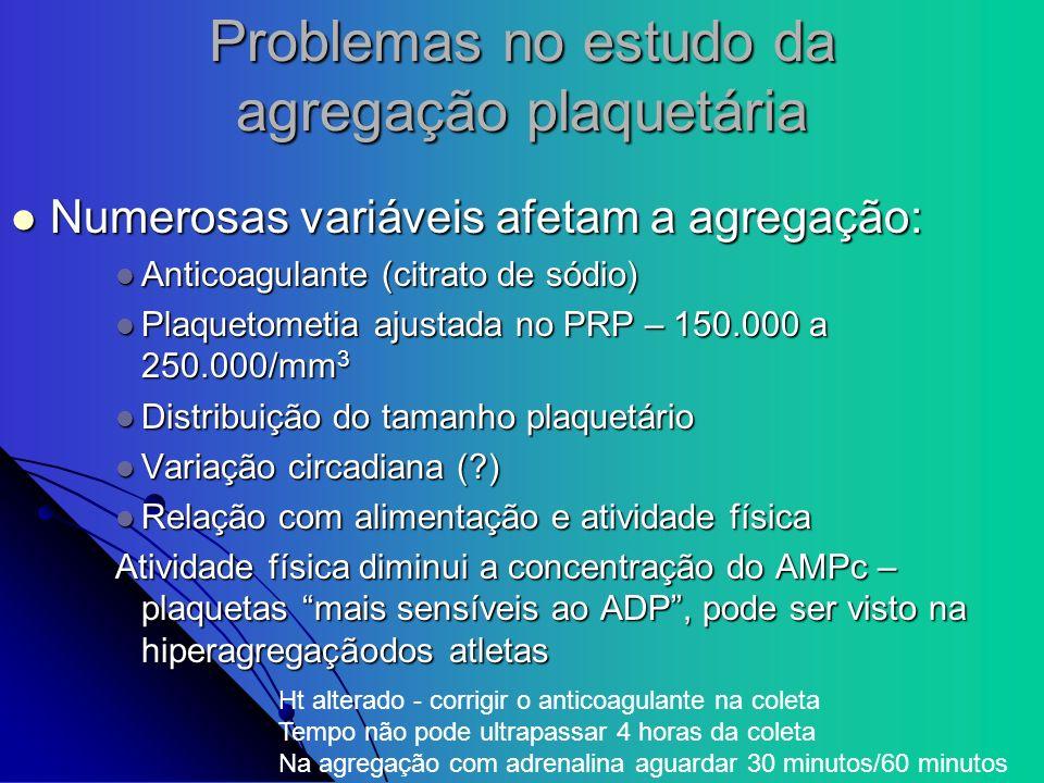 Problemas no estudo da agregação plaquetária Numerosas variáveis afetam a agregação: Numerosas variáveis afetam a agregação: Anticoagulante (citrato d
