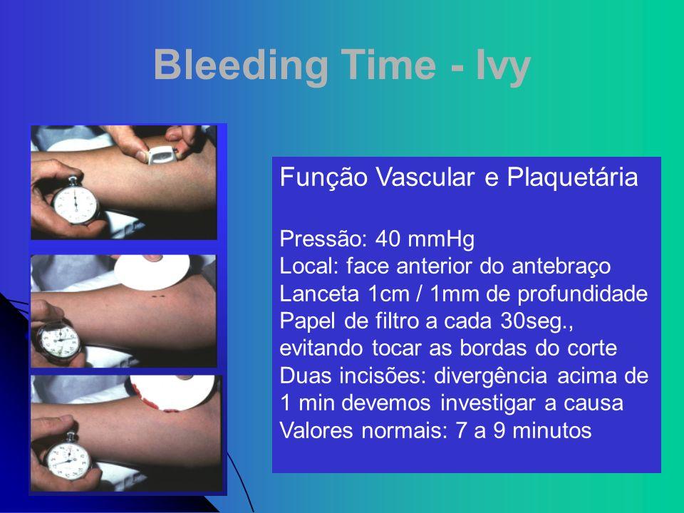 Bleeding Time - Ivy Função Vascular e Plaquetária Pressão: 40 mmHg Local: face anterior do antebraço Lanceta 1cm / 1mm de profundidade Papel de filtro