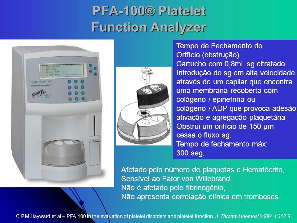 PFA-100® Platelet Function Analyzer Tempo de Fechamento do Orifício (obstrução) Cartucho com 0,8mL sg citratado Introdução do sg em alta velocidade at