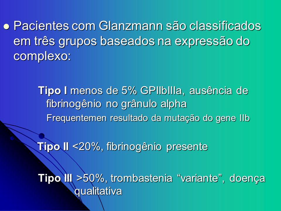 Pacientes com Glanzmann são classificados em três grupos baseados na expressão do complexo: Pacientes com Glanzmann são classificados em três grupos b