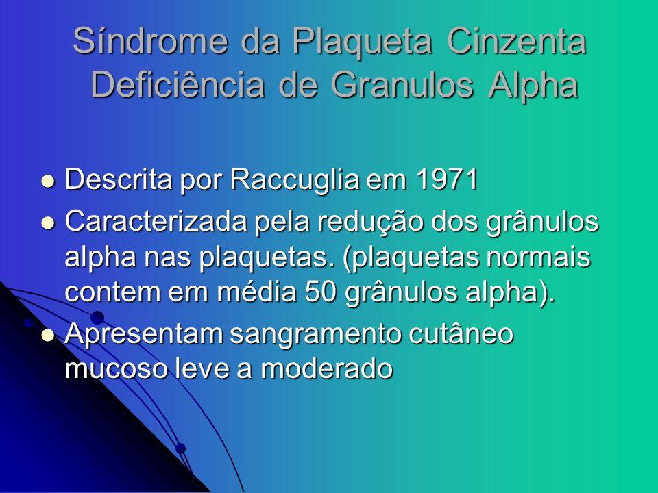 Síndrome da Plaqueta Cinzenta Deficiência de Granulos Alpha Descrita por Raccuglia em 1971 Descrita por Raccuglia em 1971 Caracterizada pela redução d