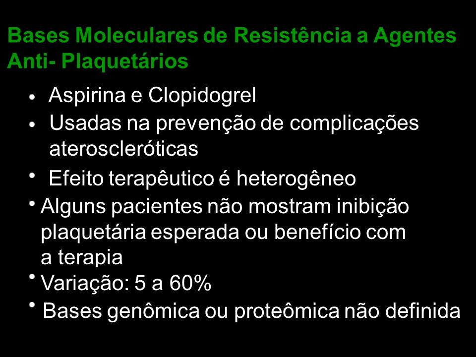 Bases Moleculares de Resistência a Agentes Anti- Plaquetários Aspirina e Clopidogrel Usadas na prevenção de complicações ateroscleróticas Efeito terap