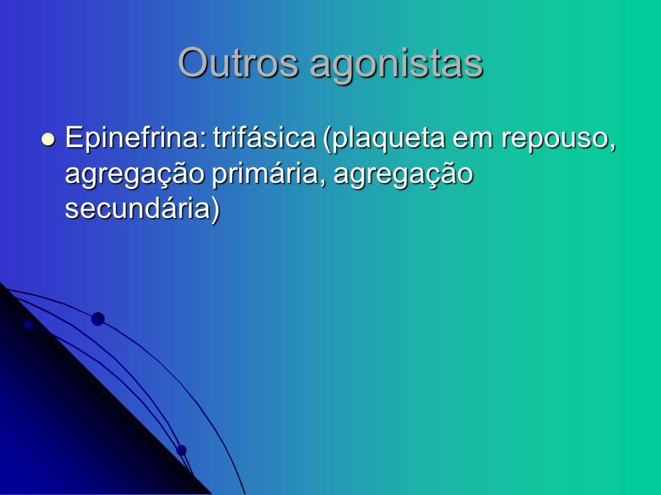 Outros agonistas Epinefrina: trifásica (plaqueta em repouso, agregação primária, agregação secundária) Epinefrina: trifásica (plaqueta em repouso, agr