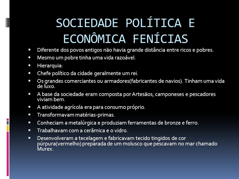 SOCIEDADE POLÍTICA E ECONÔMICA FENÍCIAS Diferente dos povos antigos não havia grande distância entre ricos e pobres. Mesmo um pobre tinha uma vida raz