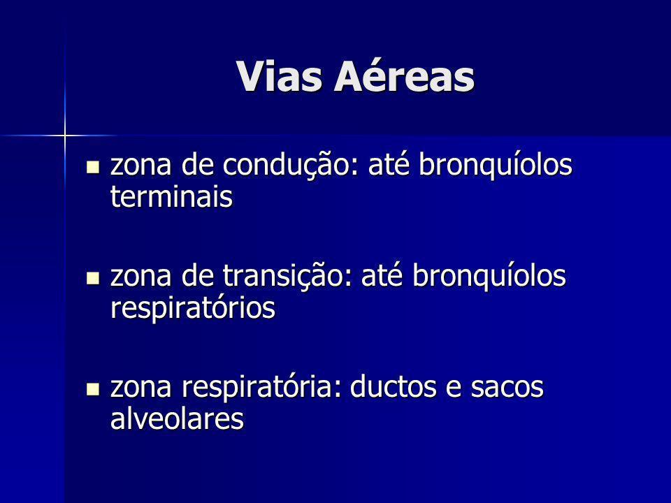 zona de condução: até bronquíolos terminais zona de condução: até bronquíolos terminais zona de transição: até bronquíolos respiratórios zona de trans