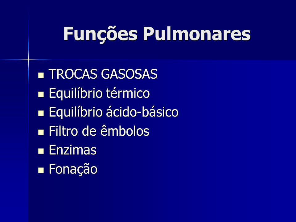 Funções Pulmonares TROCAS GASOSAS TROCAS GASOSAS Equilíbrio térmico Equilíbrio térmico Equilíbrio ácido-básico Equilíbrio ácido-básico Filtro de êmbol