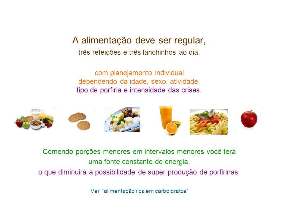 A alimentação deve ser regular, três refeições e três lanchinhos ao dia, com planejamento individual dependendo da idade, sexo, atividade, tipo de por