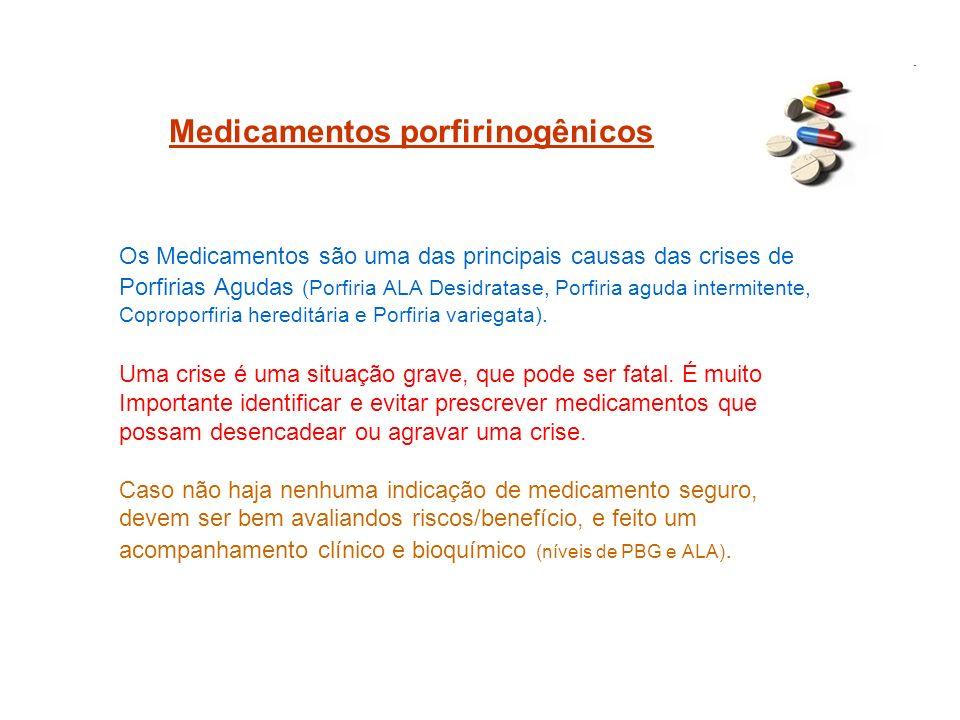 Medicamentos porfirinogênicos Os Medicamentos são uma das principais causas das crises de Porfirias Agudas (Porfiria ALA Desidratase, Porfiria aguda i