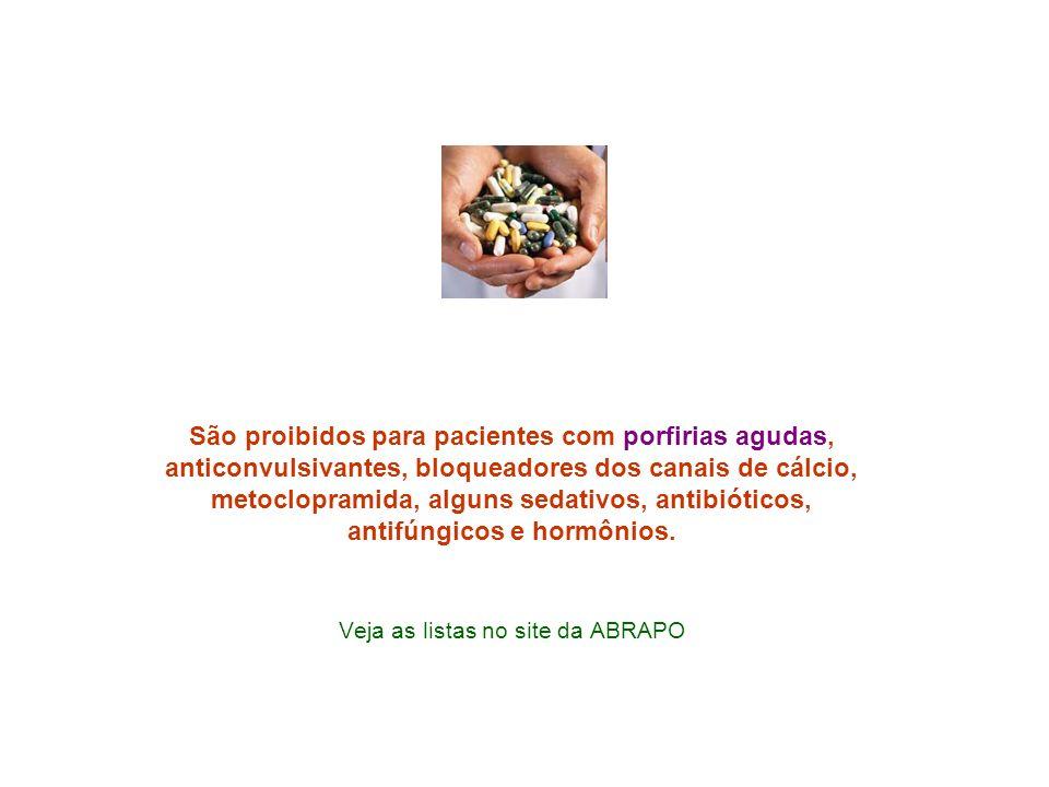 São proibidos para pacientes com porfirias agudas, anticonvulsivantes, bloqueadores dos canais de cálcio, metoclopramida, alguns sedativos, antibiótic