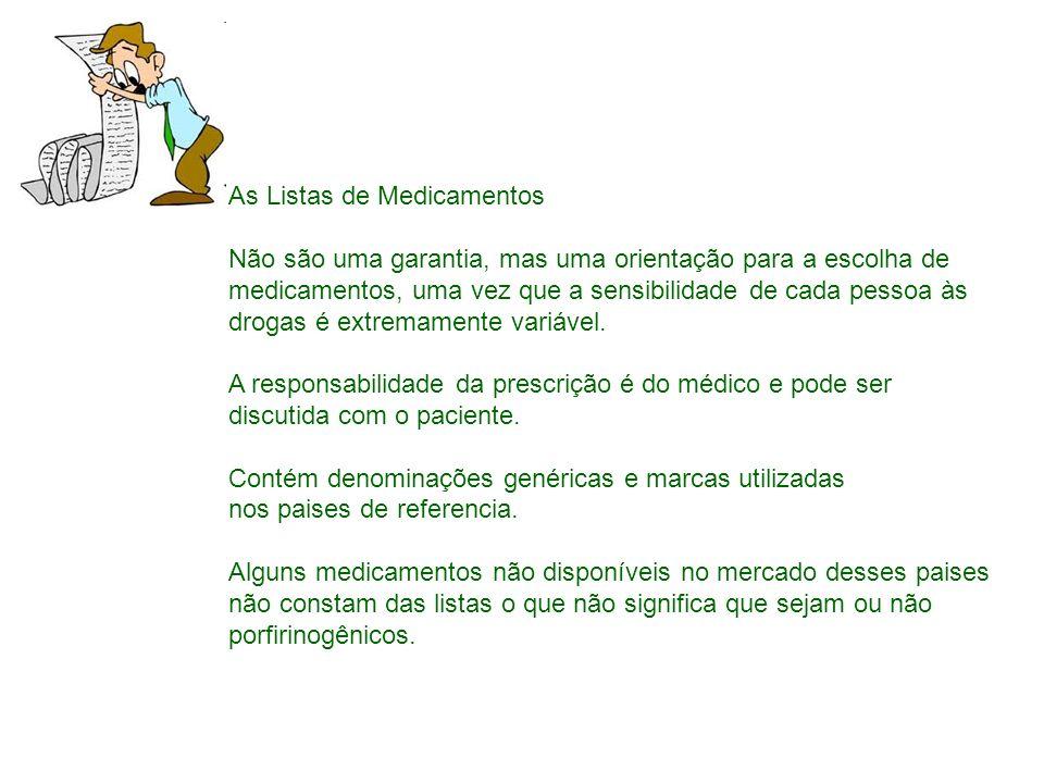 As Listas de Medicamentos Não são uma garantia, mas uma orientação para a escolha de medicamentos, uma vez que a sensibilidade de cada pessoa às droga