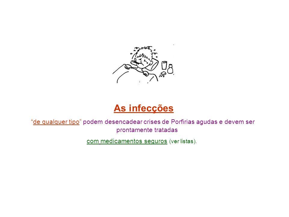 As infecções de qualquer tipo podem desencadear crises de Porfirias agudas e devem ser prontamente tratadas com medicamentos seguros (ver listas).