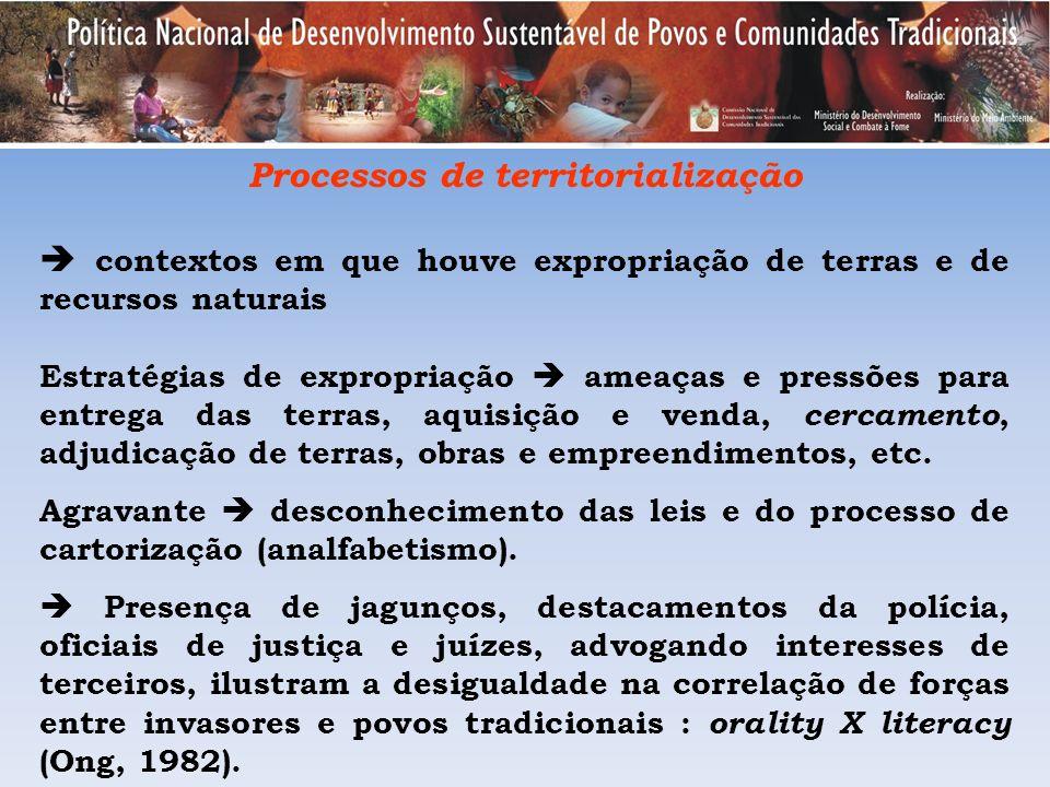 Processos de territorialização contextos em que houve expropriação de terras e de recursos naturais Estratégias de expropriação ameaças e pressões par