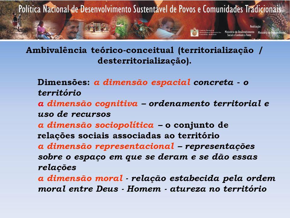 Ambivalência teórico-conceitual (territorialização / desterritorialização). Dimensões: a dimensão espacial concreta - o território a dimensão cognitiv