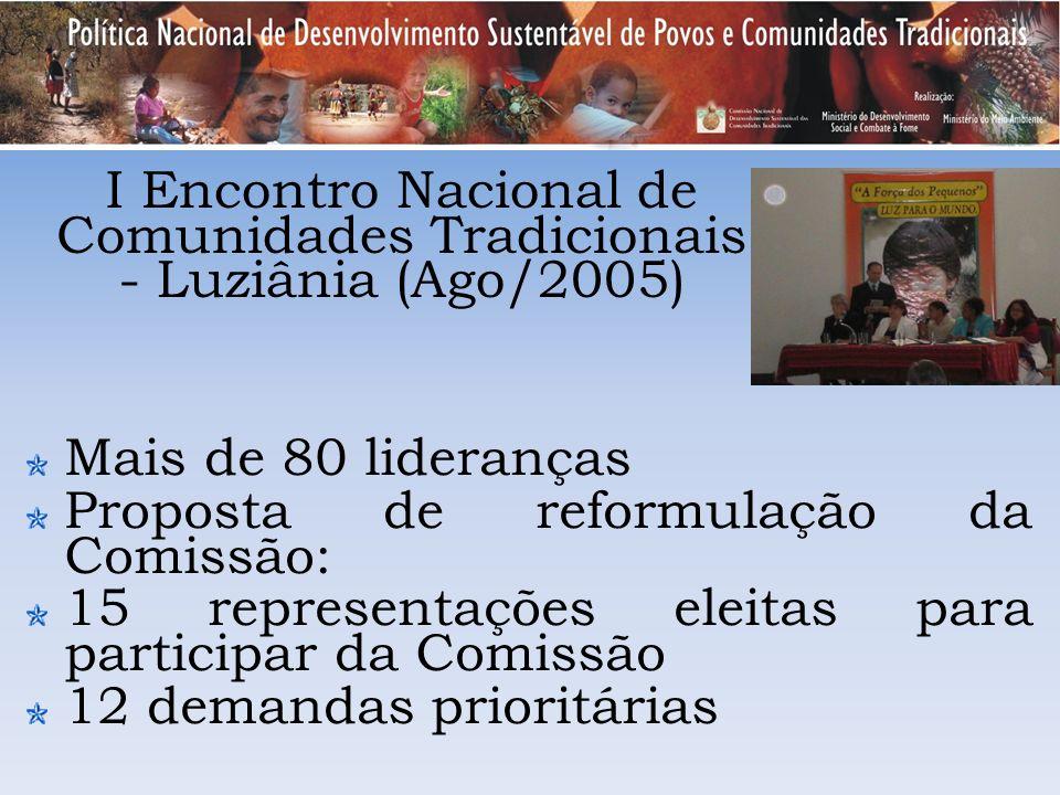 Mais de 80 lideranças Proposta de reformulação da Comissão: 15 representações eleitas para participar da Comissão 12 demandas prioritárias I Encontro