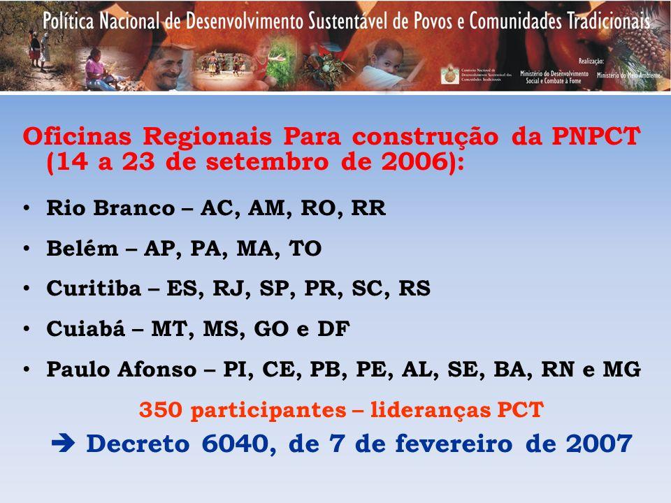 Oficinas Regionais Para construção da PNPCT (14 a 23 de setembro de 2006): Rio Branco – AC, AM, RO, RR Belém – AP, PA, MA, TO Curitiba – ES, RJ, SP, P