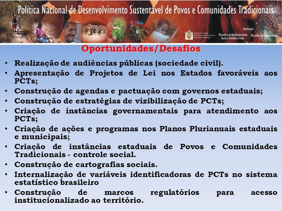Oportunidades/Desafios Realização de audiências públicas (sociedade civil). Apresentação de Projetos de Lei nos Estados favoráveis aos PCTs; Construçã