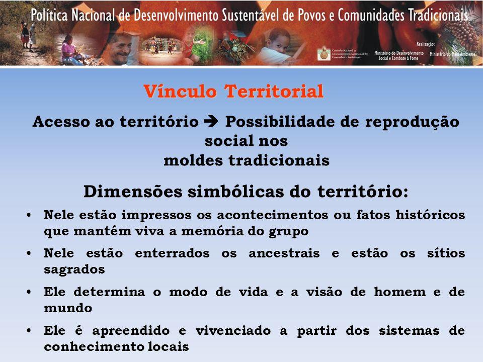 Vínculo Territorial Acesso ao território Possibilidade de reprodução social nos moldes tradicionais Dimensões simbólicas do território: Nele estão imp