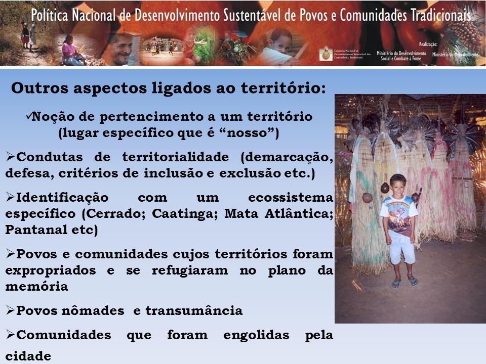 Outros aspectos ligados ao território: Noção de pertencimento a um território (lugar específico que é nosso) Condutas de territorialidade (demarcação,
