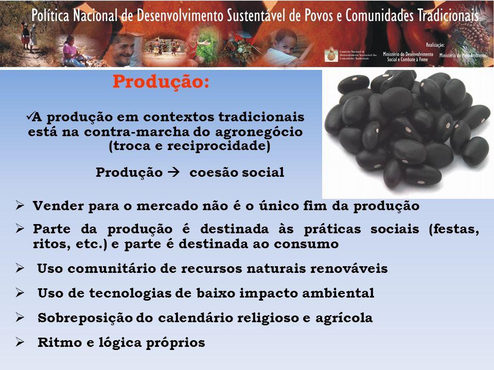 Produção: A produção em contextos tradicionais está na contra-marcha do agronegócio (troca e reciprocidade) Produção coesão social Vender para o merca