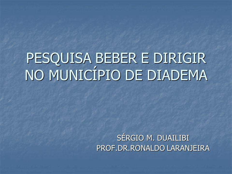 PESQUISA BEBER E DIRIGIR NO MUNICÍPIO DE DIADEMA SÉRGIO M. DUAILIBI PROF.DR.RONALDO LARANJEIRA