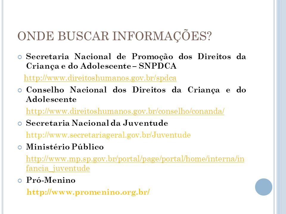 ONDE BUSCAR INFORMAÇÕES? Secretaria Nacional de Promoção dos Direitos da Criança e do Adolescente – SNPDCA http://www.direitoshumanos.gov.br/spdca Con