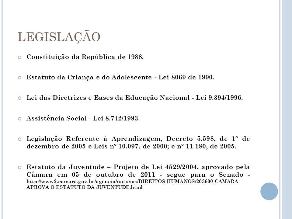 LEGISLAÇÃO Constituição da República de 1988. Estatuto da Criança e do Adolescente - Lei 8069 de 1990. Lei das Diretrizes e Bases da Educação Nacional
