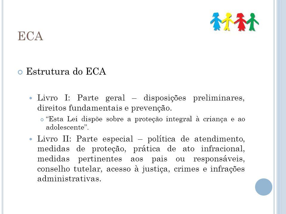 ECA Estrutura do ECA Livro I: Parte geral – disposições preliminares, direitos fundamentais e prevenção. Esta Lei dispõe sobre a proteção integral à c