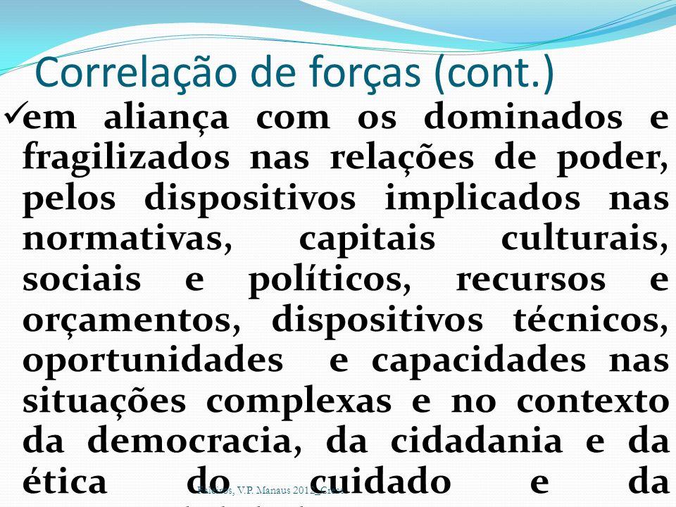 Correlação de forças (cont.) em aliança com os dominados e fragilizados nas relações de poder, pelos dispositivos implicados nas normativas, capitais