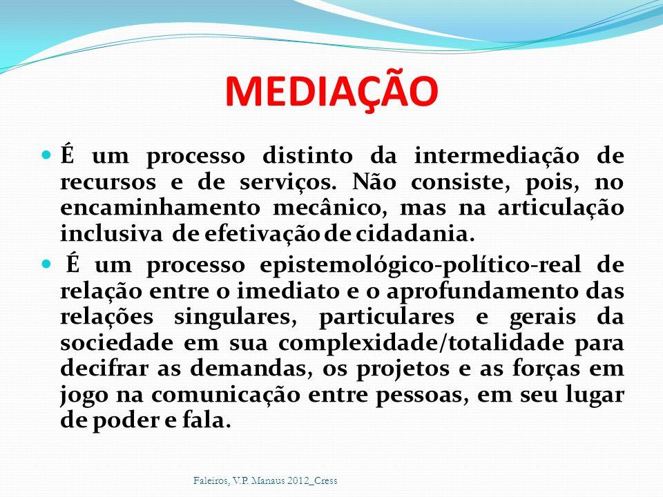 MEDIAÇÃO É um processo distinto da intermediação de recursos e de serviços. Não consiste, pois, no encaminhamento mecânico, mas na articulação inclusi