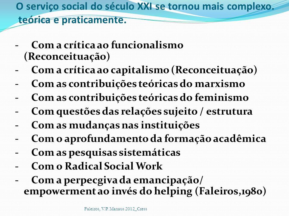 O serviço social do século XXI se tornou mais complexo. teórica e praticamente. - Com a crítica ao funcionalismo (Reconceituação) - Com a crítica ao c
