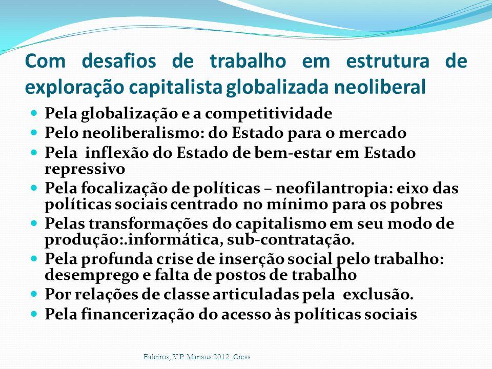 Pela globalização e a competitividade Pelo neoliberalismo: do Estado para o mercado Pela inflexão do Estado de bem-estar em Estado repressivo Pela foc