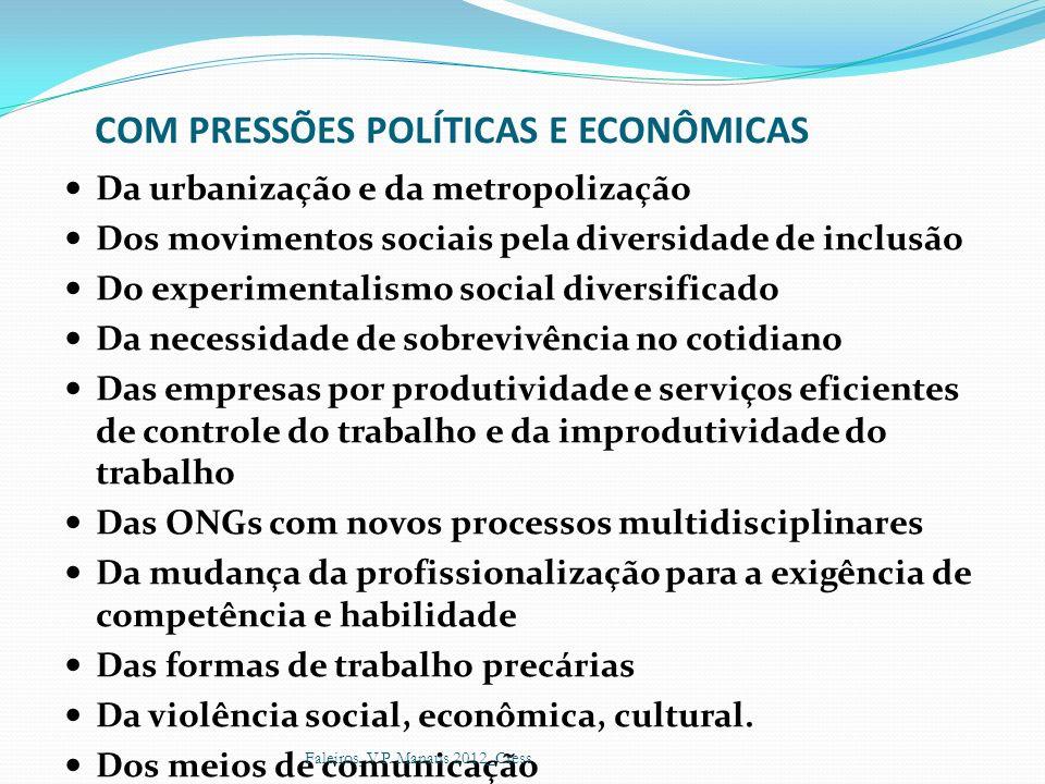 COM PRESSÕES POLÍTICAS E ECONÔMICAS Da urbanização e da metropolização Dos movimentos sociais pela diversidade de inclusão Do experimentalismo social