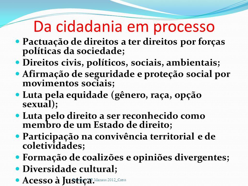 Da cidadania em processo Pactuação de direitos a ter direitos por forças políticas da sociedade; Direitos civis, políticos, sociais, ambientais; Afirm