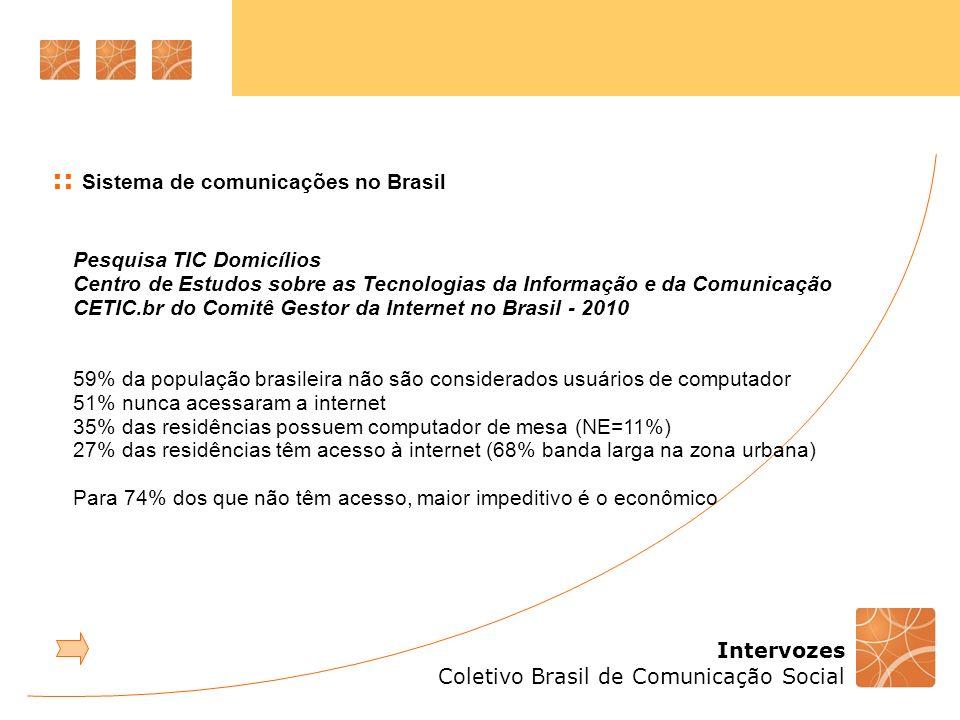 Intervozes Coletivo Brasil de Comunicação Social :: Sistema de comunicações no Brasil 1.2 Não-regulamentação dos artigos da CF relacionados à comunicação a)proibição do monopólio – art.220 b) exigências para programação – art.