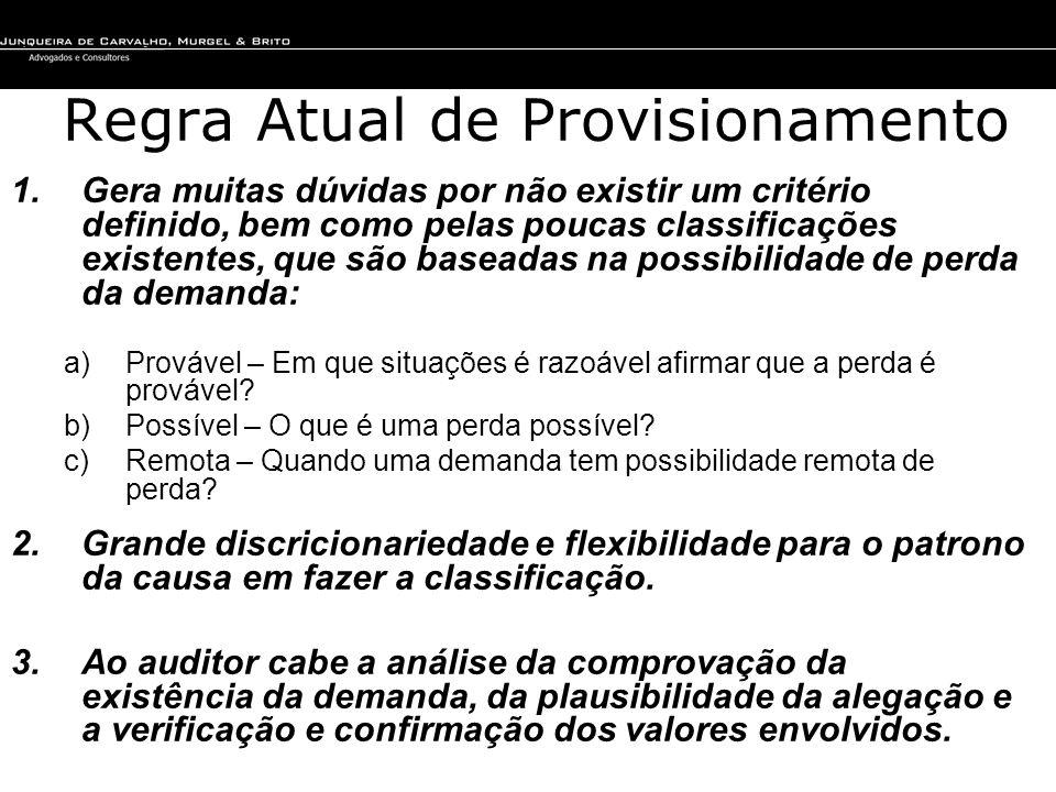 Regra Atual de Provisionamento 1.Gera muitas dúvidas por não existir um critério definido, bem como pelas poucas classificações existentes, que são ba