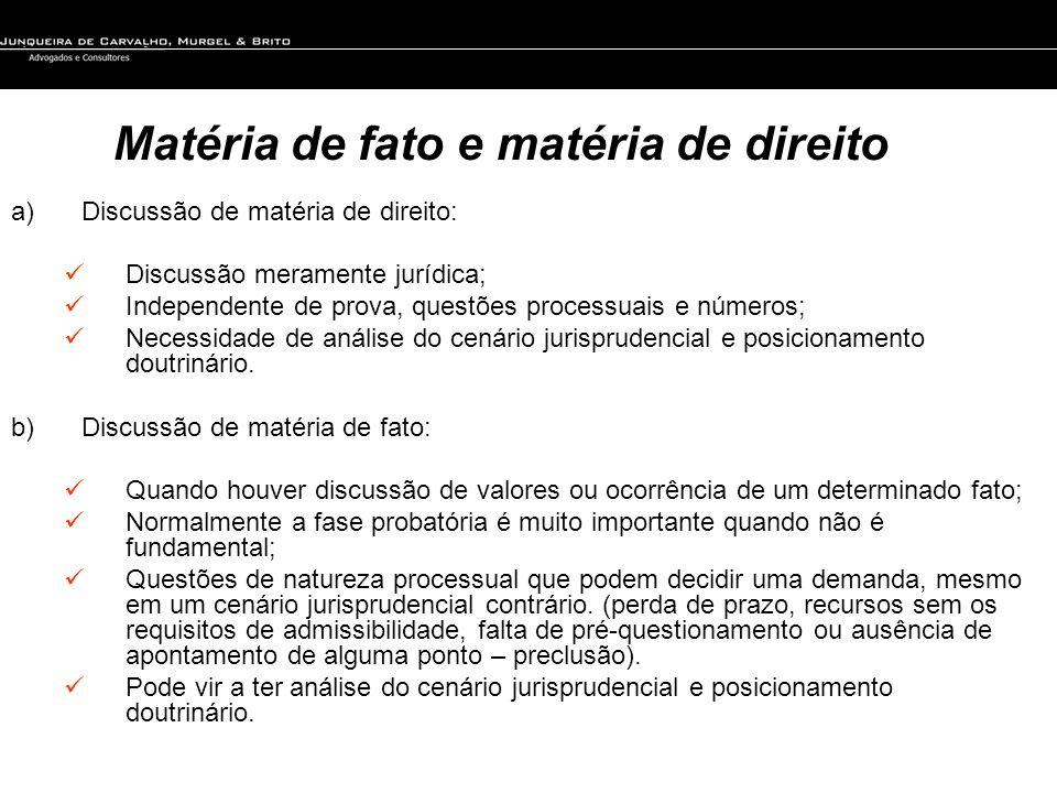 Matéria de fato e matéria de direito a)Discussão de matéria de direito: Discussão meramente jurídica; Independente de prova, questões processuais e nú