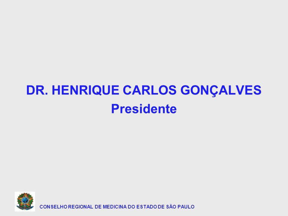 CONSELHO REGIONAL DE MEDICINA DO ESTADO DE SÃO PAULO DR. HENRIQUE CARLOS GONÇALVES Presidente