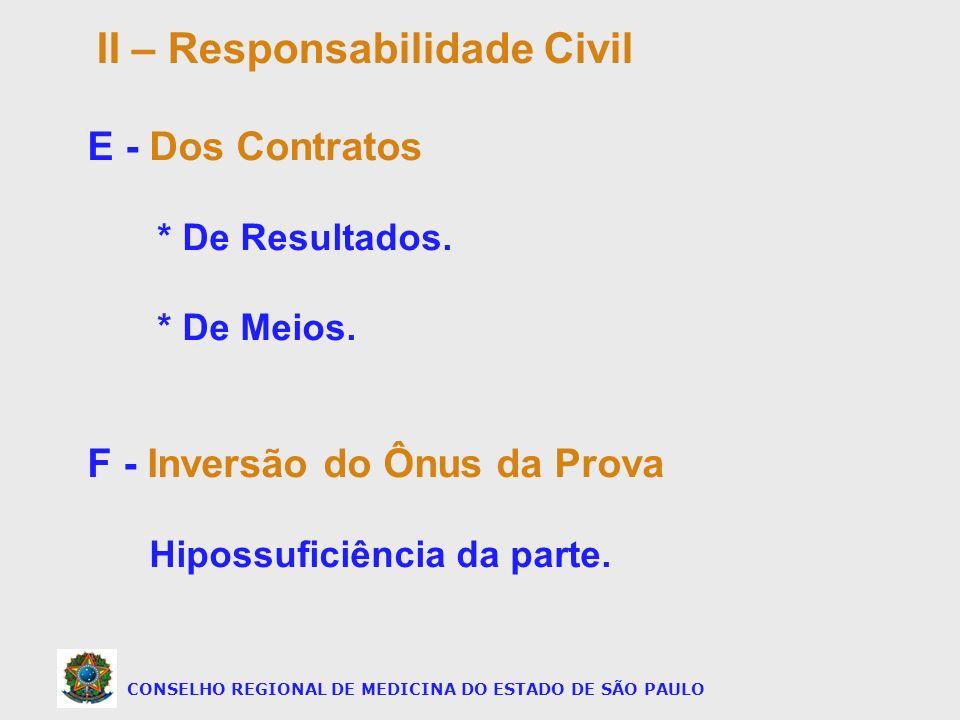CONSELHO REGIONAL DE MEDICINA DO ESTADO DE SÃO PAULO E - Dos Contratos * De Resultados. * De Meios. F - Inversão do Ônus da Prova Hipossuficiência da