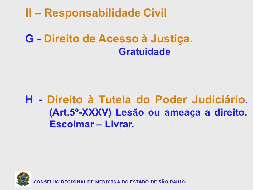 CONSELHO REGIONAL DE MEDICINA DO ESTADO DE SÃO PAULO G - Direito de Acesso à Justiça. Gratuidade H - Direito à Tutela do Poder Judiciário. (Art.5º-XXX
