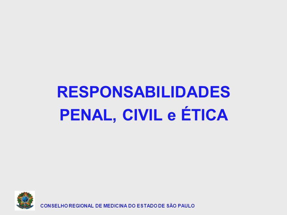 CONSELHO REGIONAL DE MEDICINA DO ESTADO DE SÃO PAULO 1 - RESPONSABILIDADE PENAL 2 - RESPONSABILIDADE CIVIL 3 - RESPONSABILIDADE FUNCIONAL 4 - RESPONSABILIDADE ÉTICO PROFISSIONAL
