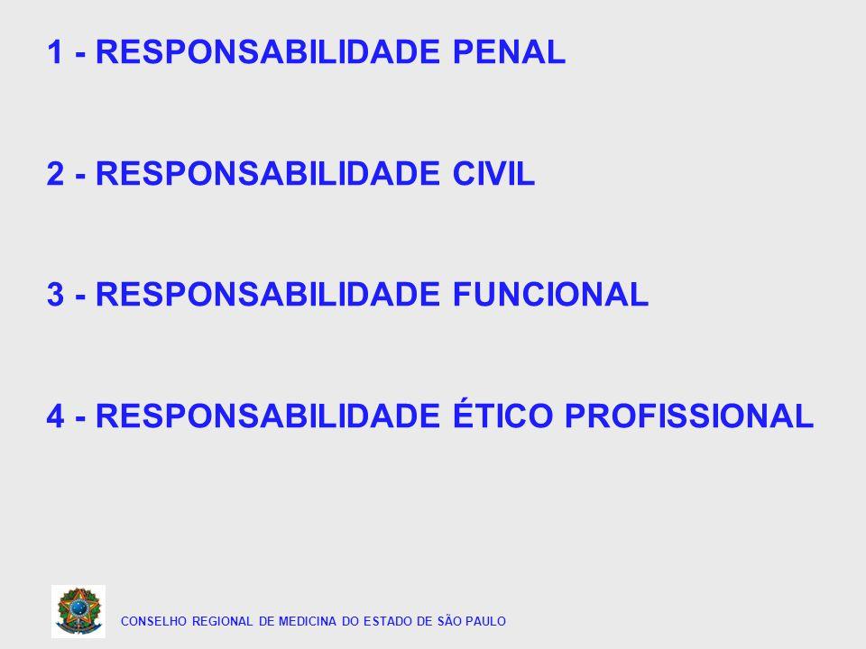 CONSELHO REGIONAL DE MEDICINA DO ESTADO DE SÃO PAULO 1 - RESPONSABILIDADE PENAL 2 - RESPONSABILIDADE CIVIL 3 - RESPONSABILIDADE FUNCIONAL 4 - RESPONSA