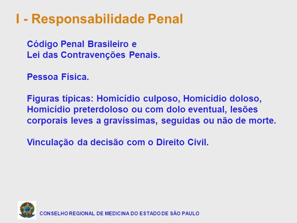 CONSELHO REGIONAL DE MEDICINA DO ESTADO DE SÃO PAULO I - Responsabilidade Penal Código Penal Brasileiro e Lei das Contravenções Penais. Pessoa Física.